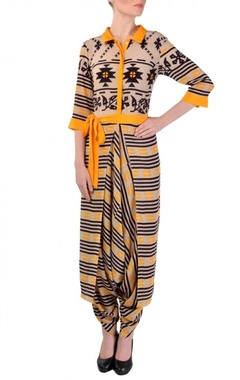 Beige, black & yellow printed dhoti jumpsuit