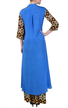 Cobalt blue aztec printed tunic with palazzos