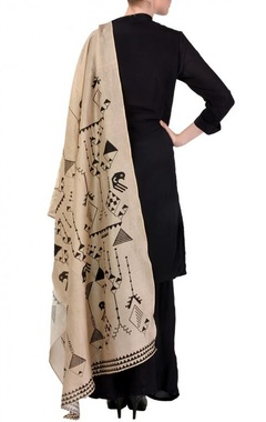 Black & beige  geometric bird printed kurta set