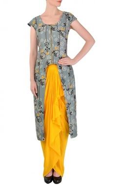 Light grey bird printed tunic with yellow dhoti skirt