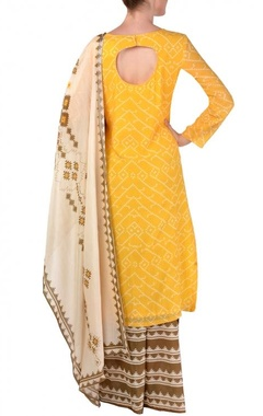 yellow, brown & off white aztec printed kurta set