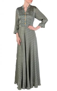 Grey, yellow & black motif printed  maxi dress
