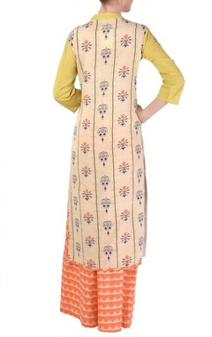 Sky blue, olive & coral color blocked kurta with palazzos