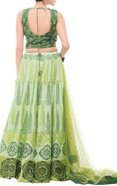 Emerald & leaf green motif printed lehenga set