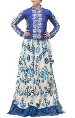 royal blue & white motif printed & embroidered lehenga set