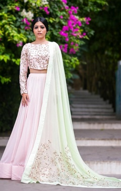 Pale pink & mint floral embroidered lehenga set