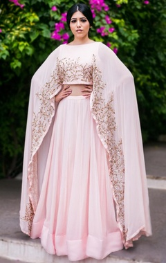 blush pink & gold leaf embroidered lehenga set