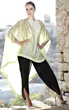 Mint leaf embellished cape with black dhoti pants