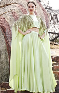 Mint green embellished cape with lehenga