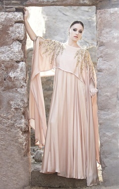 blush leaf embroidered cape gown