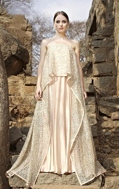 blush embroidered strapless cape with lehenga