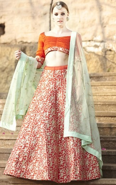 Deep orange & mint embroidered lehenga set