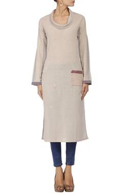 Mayank Anand Shraddha Nigam ecru & blue checked pocket tunic