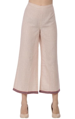 Red checkered printed straight pant