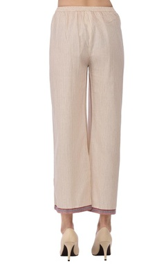 Ecru & red striped straight pants