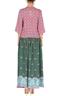 Pink & moss green aztec printed top with skirt