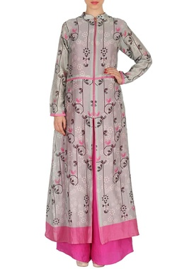 Light grey & pink floral printed tunic with palazzos