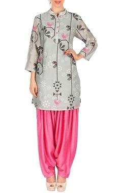 Light grey bird printed tunic with pink patiala pants