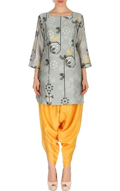 Grey & canary yellow bird printed tunic with patiala