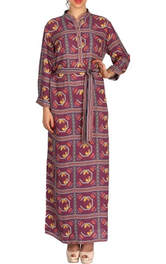 Purple bird printed maxi dress