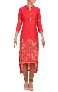 Bright pink & gold motif embroidered tunic