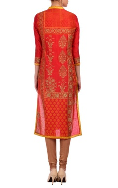 Red & gold motif embroidered tunic