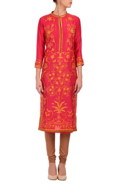Fuschia & orange floral printed tunic