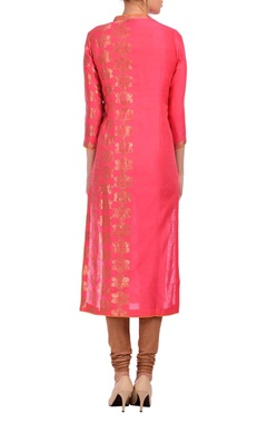 Sorbet pink & gold floral tunic