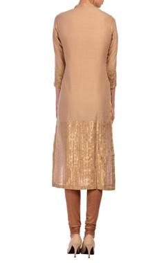 Beige & gold geometric motif tunic