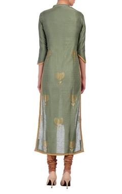Olive green hi-lo embroidered tunic