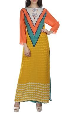 Yellow, sea green & peach aztec print kurta set
