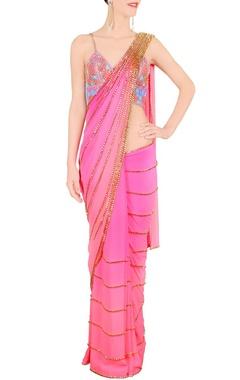pink & blue embellished sari