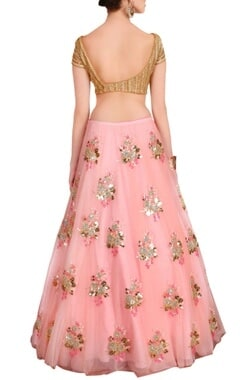 blush pink & gold floral embellished lehenga set