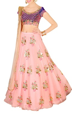 blush pink & royal blue floral embellished lehenga set