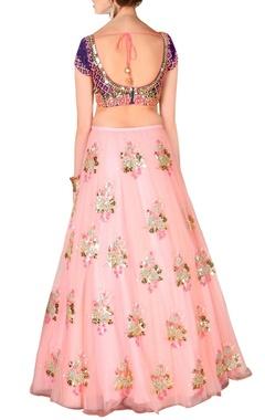 Blush pink & royal blue floral embellished lehenga set