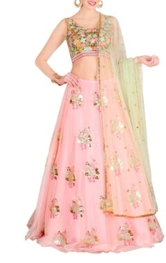 Blush pink & mint floral embroidered lehenga set