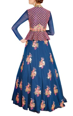 Deep blue & pink floral embroidered lehenga set