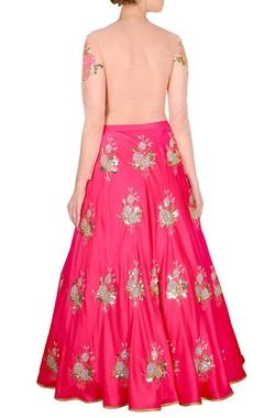 Pink embellished lehenga & beige bodysuit