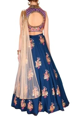 royal blue & pink floral embroidered lehenga set