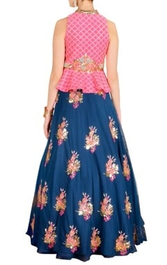Raani floral embellished peplum jacket with blue lehenga