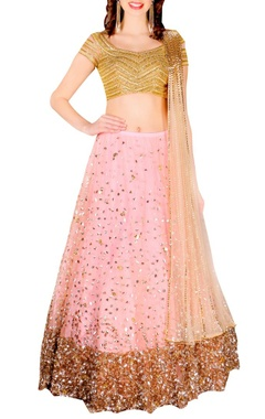 peach & gold heavilly embellished lehenga set