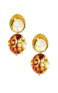 Gold plated deep pink enamelled kundan earrings