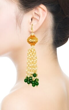 Gold plated emerald beaded & pearl dangler earrings
