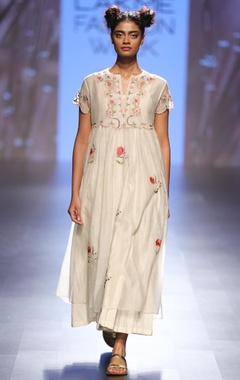 Cream & coral floral embroidered layered maxi dress