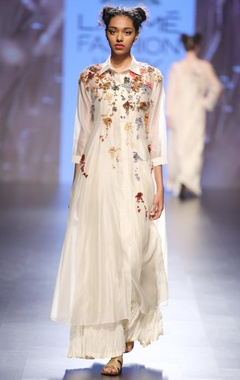 Cream foliage embroidered long tunic