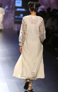 cream & grey floral embroidered long tunic