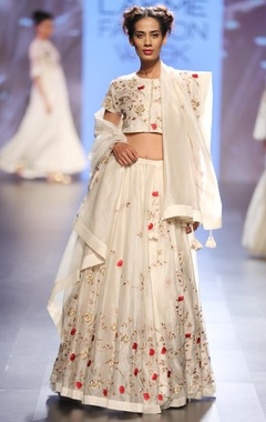 Cream, red & gold floral embroidered lehenga set