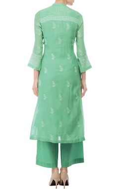 Sea green embroidered jacket tunic with palazzos