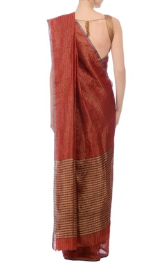 Deep red & gold zari striped linen sari
