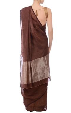Cocoa brown & silver zari linen sari